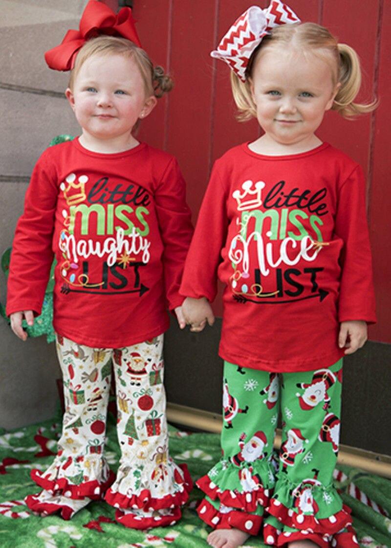 2Pcs Christmas Toddler Kids Baby Girls Xmas Dot Top Long Pants Outfit Clothes girls polka dot tube top with ripped pants