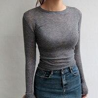 High Quality Plain T Shirt Women Cotton Elastic Basic T Shirts Female Casual Tops Long Sleeve