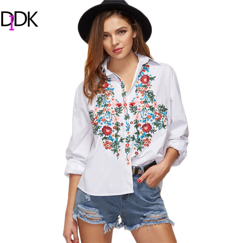 DIDK White Flower Embroidered High Low Blouse Spring Fall Lapel Long Sleeve Button Casual Womens Tops and Blouses