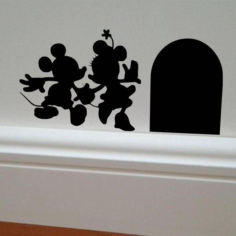 Mickey y minnie casa vinilo diy etiqueta de la pared decoración del hogar del ra