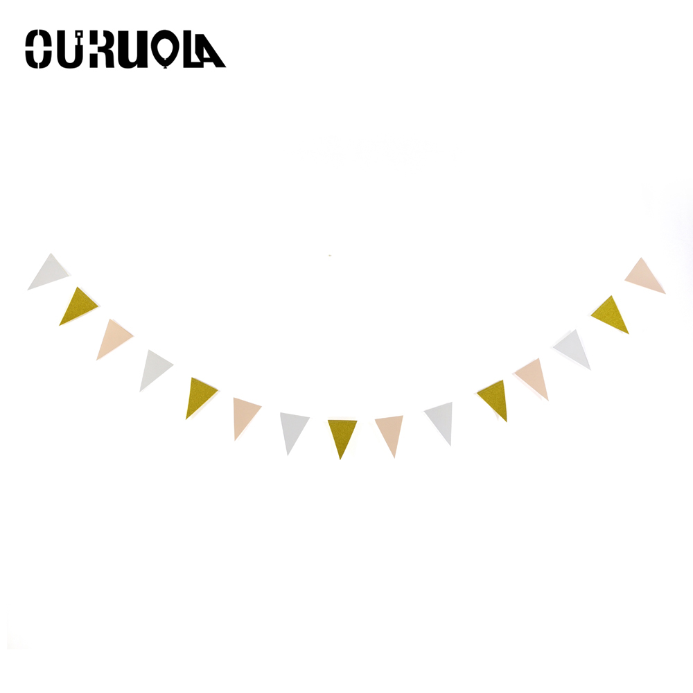 OURUOLA Pink White Gold Flag Banner Glitter Paper Pennant Bunting ...