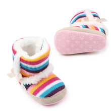 Good winter warm rainbow stripes plus velvet baby girls toddler shoes foreign trade wholesale knitting boots Kawaii 48(China)