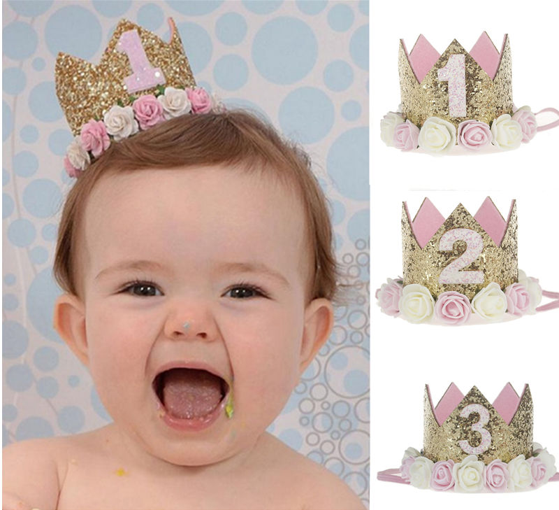 Baby Girl Headband For 1 2 3 Years Birthday Party Decor Cap Crown Princess Headband Elastic Haarband Baby Clothes Hair Accessory