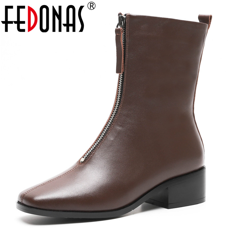 FEDONAS Brand Genuine Leather Ankle Boots For Women Sexy Square Toe Party Night Club Shoes Woman Female Short Basic Martin Boots