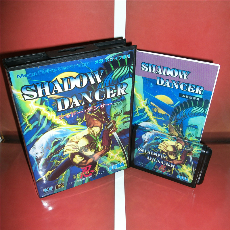 Shadow Dancer Japan Cover with box and manual For Sega Megadrive Genesis Video Game Console 16 bit MD card