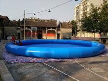 все цены на Sale of blue round 12-meter diameter PVC inflatable pool, children's adult inflatable pool. онлайн