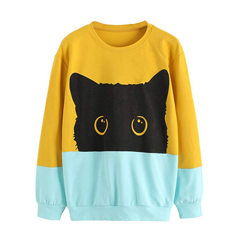 Women Autumn Winter Casual Cat Print Long Sleeve Hoodie Sweatshirt Hooded Pullover Tops Daily Fashion Casual Sweatshirt