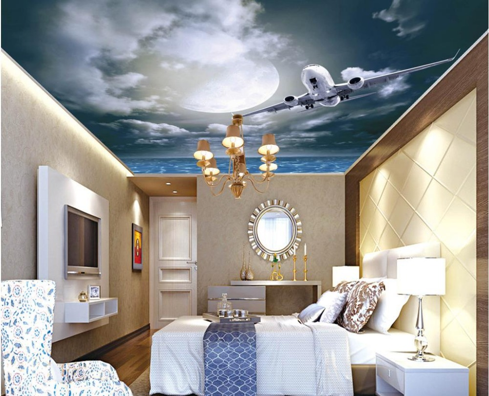 3d 방 벽지 밤 하늘 초승달 스타 거실 침실 천정 천장 벽지 현대 가정 장식|ceiling wallpaper|3d room wallpaperwallpaper modern - AliExpress