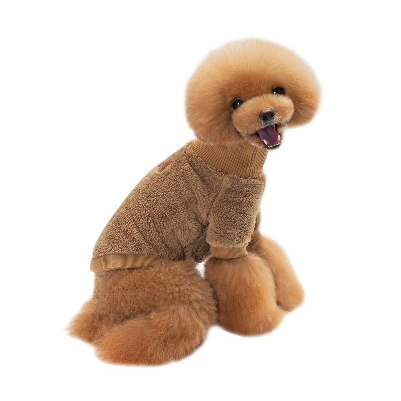 New Design Pet Clothing Velvet Solid Color High Collar Two Feet Pet Sweaters
