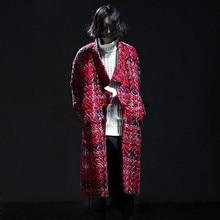 2016 winter thick men trench coat men cardigan outerwear fashion plaid casual woolen long coat men's jacket punk windbreaker N1