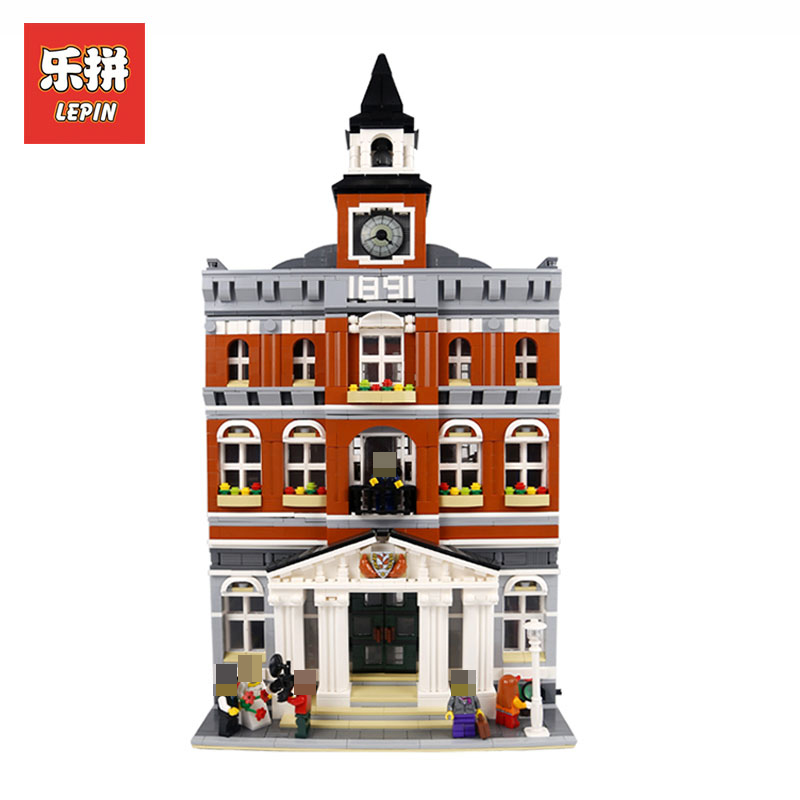 New LEPIN 15003 2859Pcs Creators town hall Model Building Blocks Kids Toys Compatible Bricks Christmas Gifts LegoINGlys 10224 lepin 15003 new 2859pcs creators the town hall model building kits blocks kid toy compatible brick christmas gift