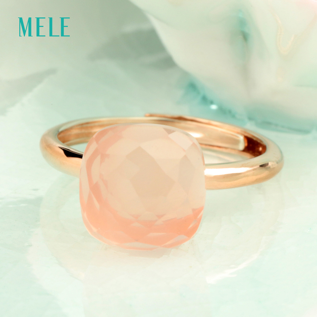 Natural rose quarts silver ring , light pink color, cushion 10mm*10mm ,checkboard cutting, fashion jewelry ring