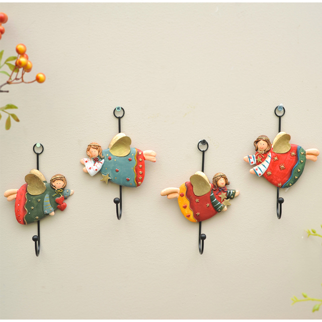 Magrace 4pcs/set Fun With Creative Gift Home Decoration Accessories Angel Resin Coat Hook Wall & Magrace 4pcs/set Fun With Creative Gift Home Decoration Accessories ...