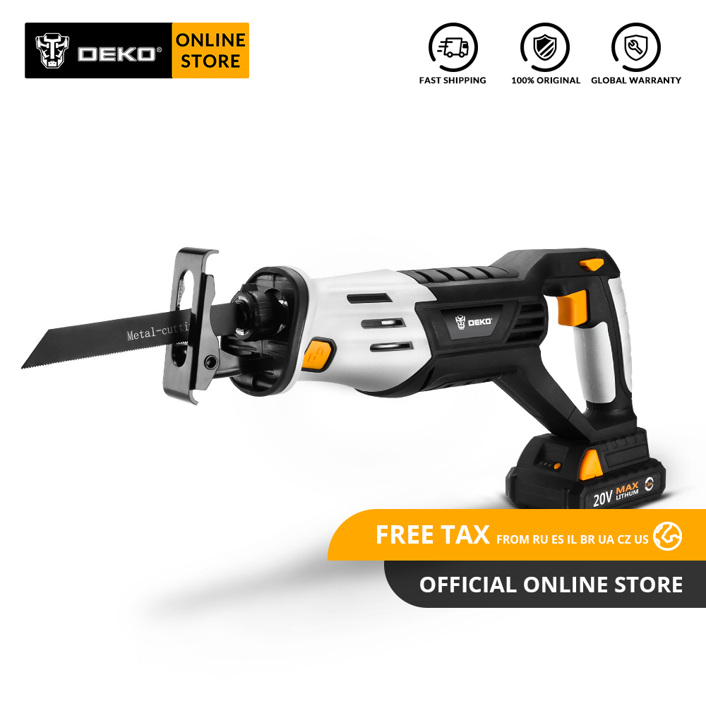 DEKO DKRS20Q2 20V Cordless Reciprocating Saw Adjustable Speed Electric Saw with Battery and 4 Pieces Blades