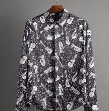 Silk fabrics 2017 spring and summer new music symbols fashion show shirts