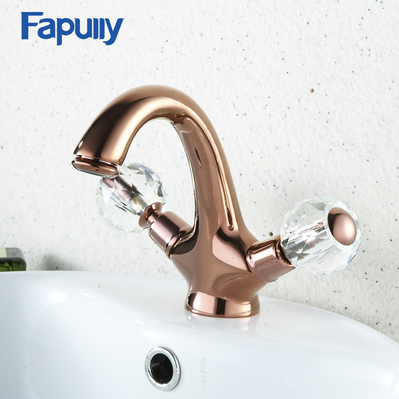 Fapully Rose Gold Bathroom Faucet Dual Handle Vessel Sink Crystal Decoration Mixer Tap Single Hole Hot And Cold Water gold satin kitchen faucet space aluminum gold single handle hot cold water vessel sink basin tap mixer torneira cozinha