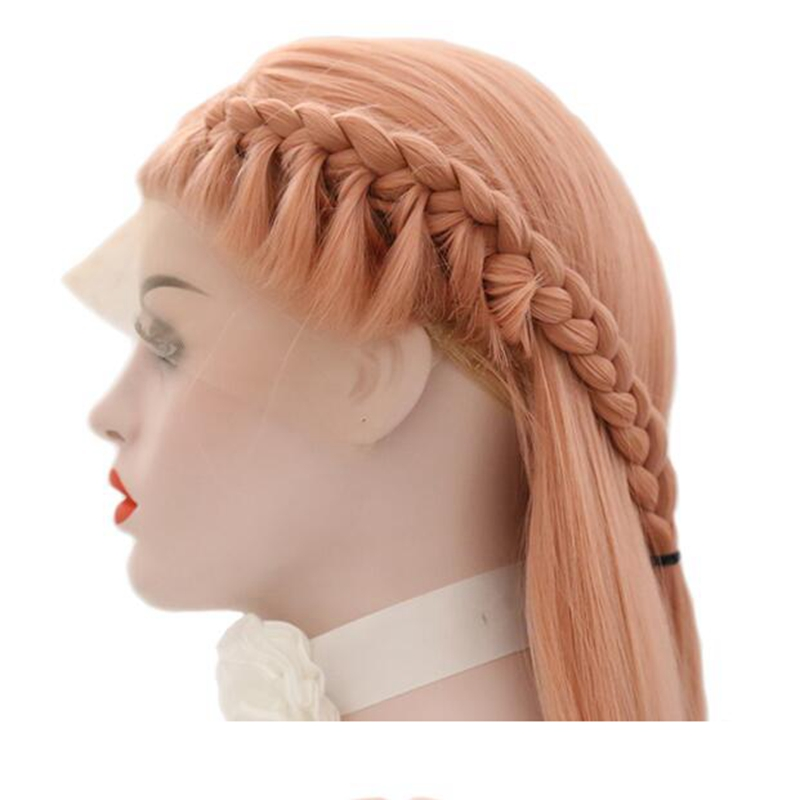 JOY BEAUTY Synthetic Lace Wigs 28 Inch Pink Braid Hair Heat Resistant Lace Front wig Long Straight hair Free Hair Cap For Women in Synthetic Lace Wigs from Hair Extensions Wigs