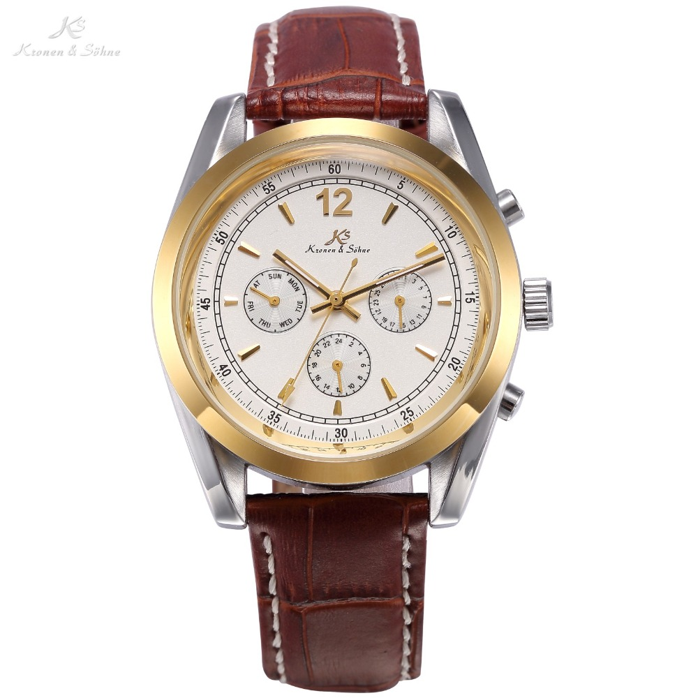 KS Luxury White Dial Gold Case Automatic Mechanical Movement Day Date Display Analog Leather Strap Wrist Men Dress Watch / KS170 ks black dial rose gold stainless steel case date display automatic mechanical fluorescence hands leather strap men watch ks234
