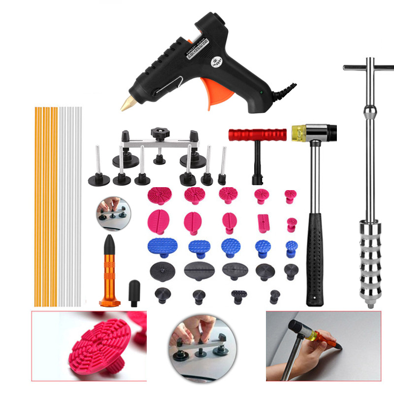 PDR Tools Paintless Dent Repair Tools Dent Removal Dent Puller Tool Kit Lifter Small T Bar Puller Fungi Glue Tabs Hammer Tools whdz 64pcs pdr tool dent lifter paintless dent hail removal repair tools glue pdr tool kit pdr pro tabs tap down line board