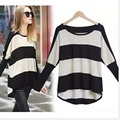 Hot Sale 2015 Autumn Fashion New Women Long Batwing Sleeve Stripe Loose Casual Pullover Knitting Sweaters Plus Size Clothing