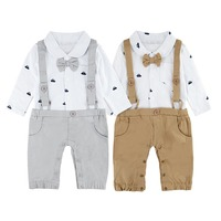 e9b749a8822 Baby Boy Suspenders Overall Newborn Tuxedo Baptism Rompers Infant Wedding  Outfit Set Toddler Gentleman Suit