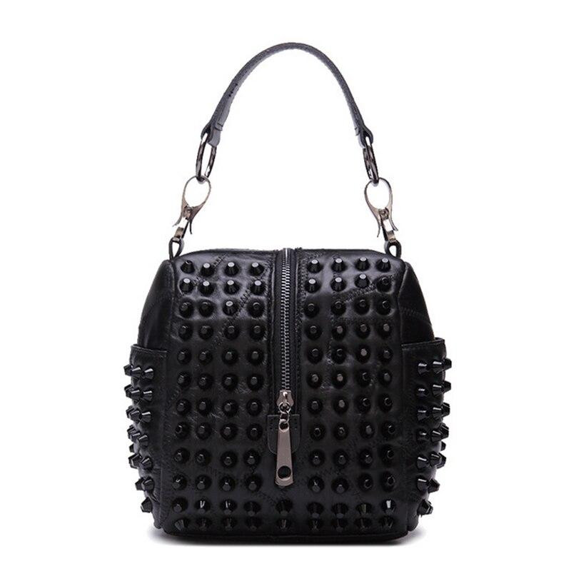 Genuine Leather Handbag Women Small Tote Bag Shoulder Bags Ladies Classic Rivet Pattern Leather Bucket Bag