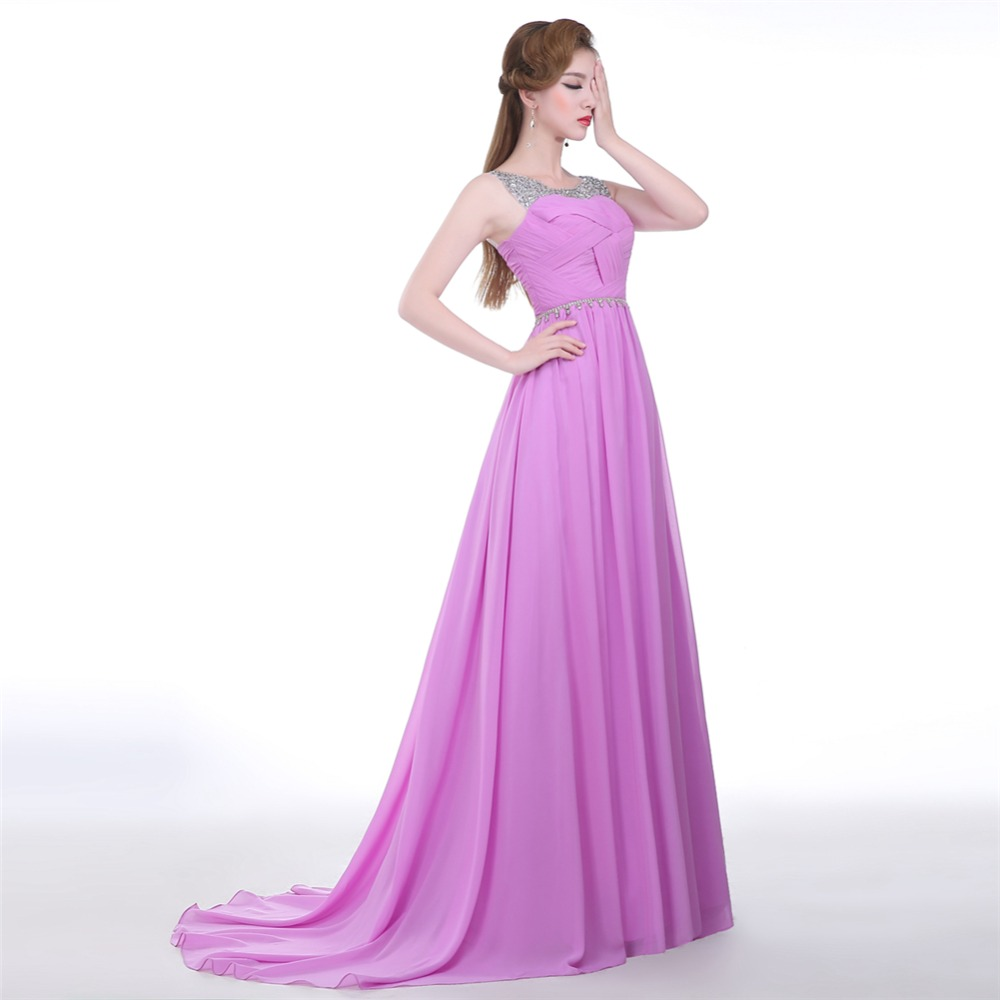 Compras baratas Lila vestidos de dama de honor púrpura barato 2018 ...