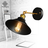Vintage Plated Wall Lamp Industrial Loft Style E27 Edison Bulb Metal Lampshade AC 90V 260V For