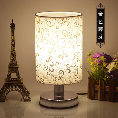 ФОТО Simple European table lamp bedroom bedside study eye dimming cloth night light indoor lighting