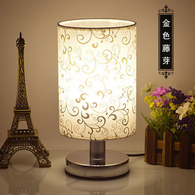 Simple European table lamp bedroom bedside study eye dimming cloth night light indoor lighting