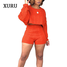 XURU Knitted Sweater Jumpsuits Women Rompers Autumn Winter Two Piece Set Long Sleeve Top+Short Pants Fashion Paysuits
