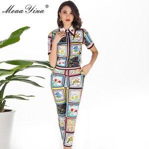 Image 3 - MoaaYina Mode Designer Set Sommer Frauen kurzarm drehen unten Kragen Perlen Floral Print Elegante Tops + 3/4 Bleistift hosen Set