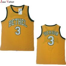 6bb4dc185a8f Jazz Vaiten Mens Cheap Throwback Basketball Jerseys 3 Allen Iverson Jersey  BETHEL High School Stitched Shirts
