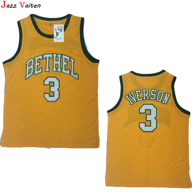 9c0cc75faa9 Jazz Vaiten Mens Cheap Throwback Basketball Jerseys 3 Allen Iverson Jersey  BETHEL High School Stitched Shirts Green Yellow