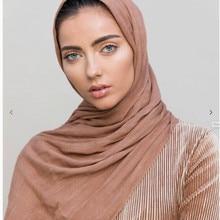 Новинка года район мятая сплошной цвет мусульманские зрелые элегантный шарф шаль шарф 13 цветов