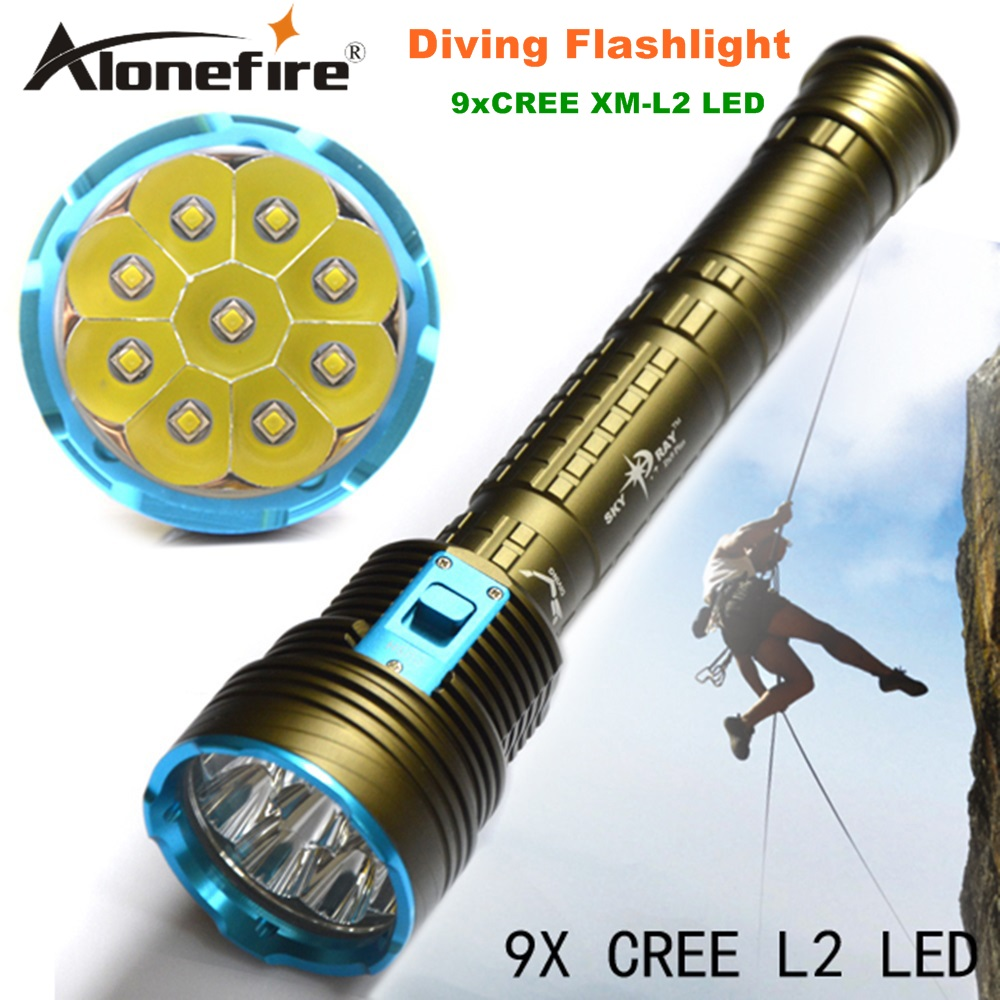 DX9S LED Diving flashlight 9 x CREE XM-L2 21000LM LED Flashlight linternas Underwater 100M Waterproof Lamp Torch