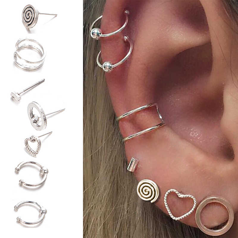 7Pcs/Lot Vintage Tibetan Top Ear Tragus Piercings Hoop Helix Cartilage Tragus Daith Earring Studs Piercing Silver Color Jewelry