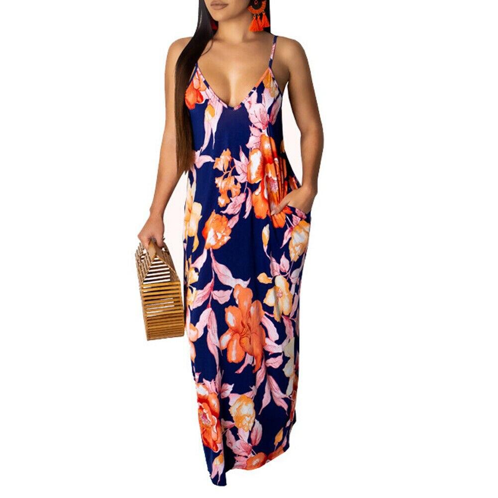 2019 Newest Hot Women's Summer Boho Floral Long Maxi Evening Party Beach Dress Floral Sleeveless V Neck Sundress 8