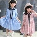 Девушки осень платье 2016 новый носить Розовый светло-синий с длинными рукавами кружева платье девушки детей принцесса платье девочки детская одежда