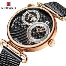 REWARD Brand New Luxury Fashion Mens Watches Full Steel Mesh Belt Analog Dual Time Waterproof Quartz Watch Business Man Clock