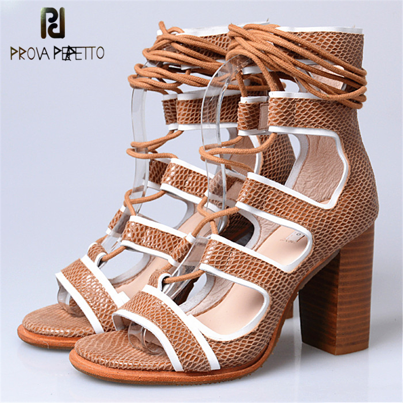 Prova Perfetto Gladiator Style Cross-tied Lace Up Peep Toe Woman Sandals New Arrival Concise Chunky High Heel Sandal Boots prova perfetto gladiator design cross tied peep toe hollow out low heel woman sandals elastic genuine leather lace up sandals