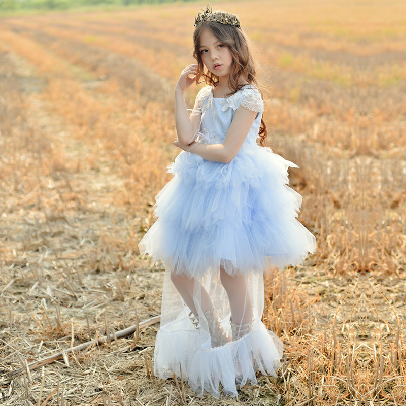 2018 Kids Girl Wedding Flower Girls Dress Princess Pageant Formal Party Dress Prom Baby Girl Birthday Dress Communion Costume