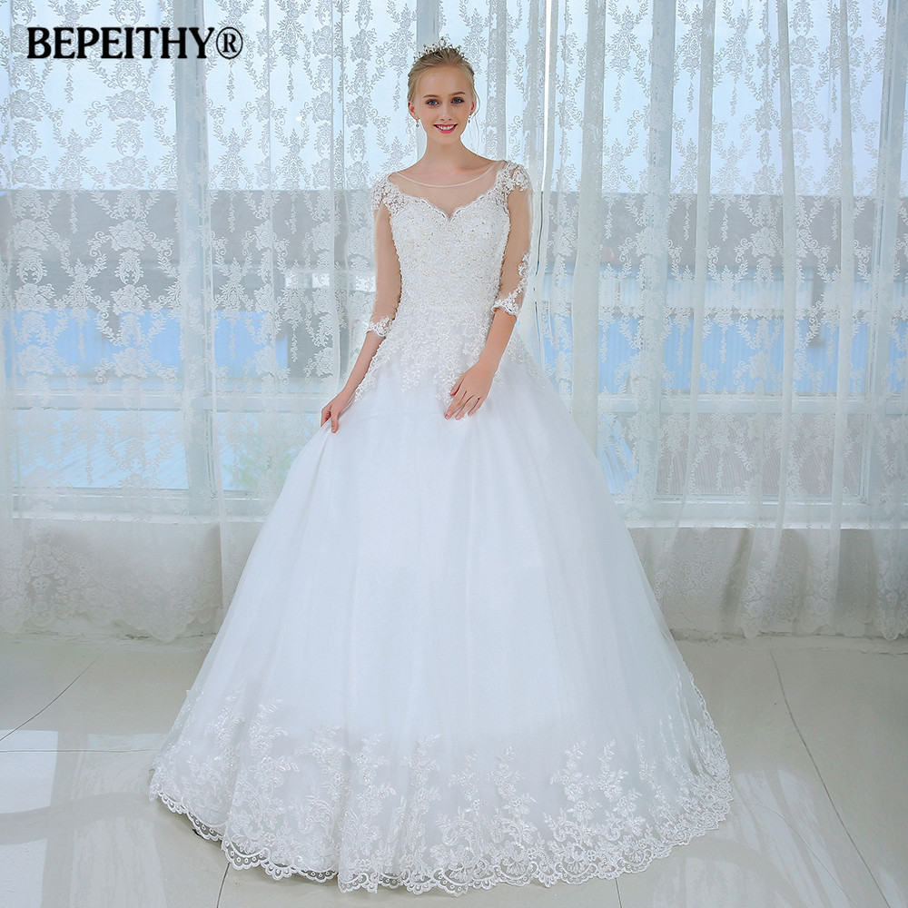 Discount Wedding Gowns: New Sheer Three Quarter Sleeves Winter Wedding Dress 2016