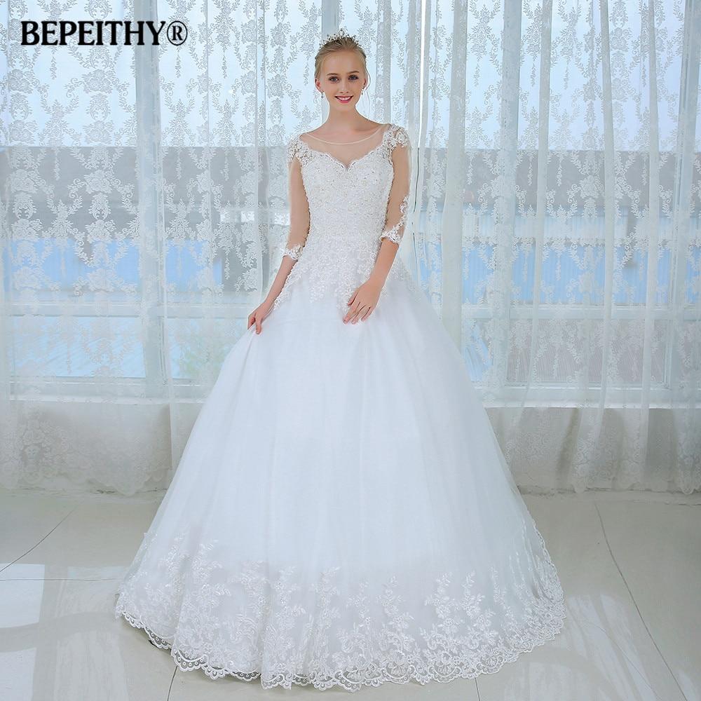 New Sheer Three Quarter Sleeves Winter Wedding Dress 2020 Casamento Robe De Mariage Sexy Bridal Gowns Cheap Wedding Dresses