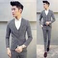 Homens de terno de 3 peças casacos + calça + colete preto e branco grade Slim Fit terno do casamento do noivo para Homme traje smoking 5XL