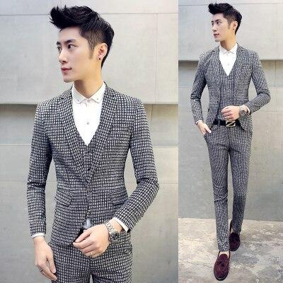 Boys Autumn Black Blue Tuxedo Suits Trousers Suit Jacket 2 Pieces Slim Fit Set