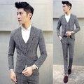 Men Prom Suit Set 3Pieces Jackets+Pants+Vest Black and White Grid Slim Fit Groom Wedding Suit for Boys Costume Homme Tuxedo 5XL