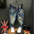 Fashion Kids Jeans 2016 Flower Character Printed Boys Denim Pants Spring And Autumn New Ripped  Child Jeans For Girls