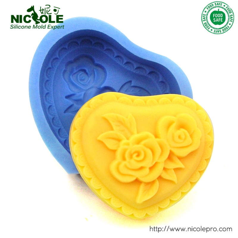 DIY Soap Mold Moulds Rose Flower Heart Flexible Silicone Mold For Soap Candy Free Shipping