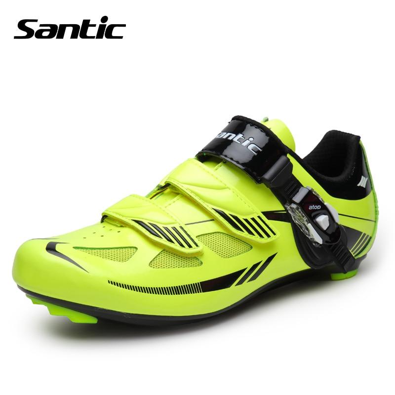 ФОТО Santic Men Cycling Shoes Road Bike Breathable Anti-slip Pro Auto-lock Cycling Bicycle Shoes Nylon TPU Sole Zapatillas Ciclismo